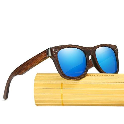los hombres Sol madera de Gafas sol de anteojos Gafas Madera sol Polarizadas modelo de de Gafas de Azul de Lentes moda Bambú Gafas KITHDIA vintage de de y espejos de WBx18wqEwP