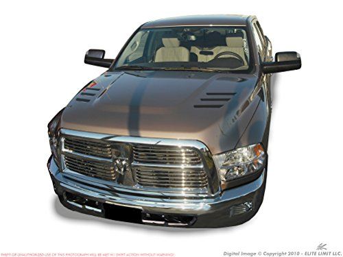 3M SERIES VINYL - (6 piece) 2010 - 2018 Dodge Ram 2500 3500 Truck Hood Stripes Graphic 6 STAMPS VENT INLAY Louver Decals Kit (EL Master Grade Pro: Matte Satin Black) (Stamp Graphic)