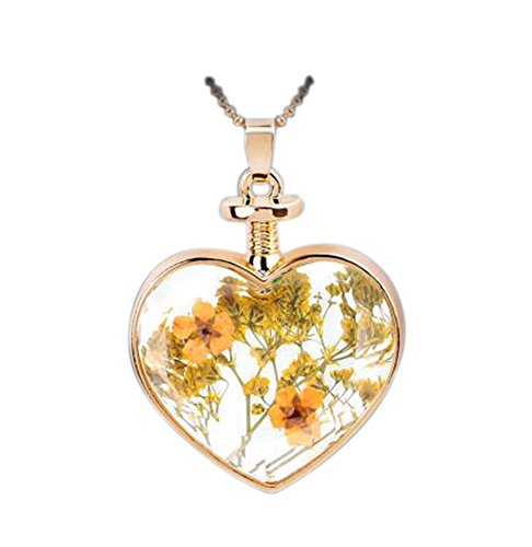 2 Pieces Of Fashion Yellow Flower Specimens Pendant For Heart-Shaped Necklace