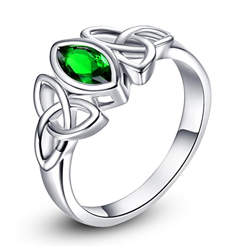 Veunora White Gold Plated Marquise Cut Emerald Quartz Celtic Knot Ring Jewerly for Women Size 6