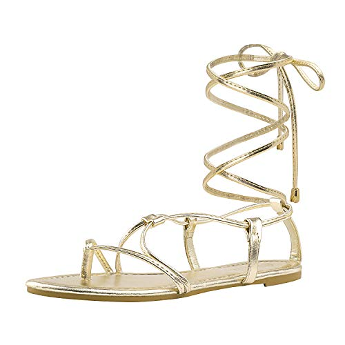 - DREAM PAIRS Women's Sammy_02 Gold Fashion Gladiator Design Lace Up Flat Sandals Size 7.5 M US