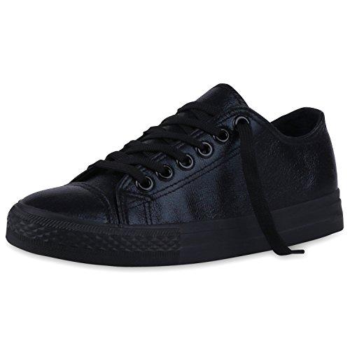 Japado Elegante Damen Sneakers Low Glitzer Canvas Schuhe Turnschuhe Freizeit Gr. 36-41 Schwarz Total