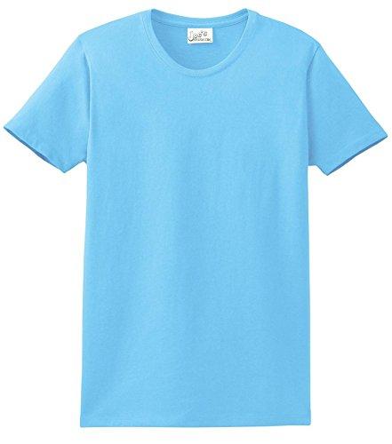 Cotton Tee Heavyweight 100% (Joe's USA(tm - Womens 6.1-Ounce 100% Soft Spun Cotton Cotton T-Shirts-L Aquatic Blue)
