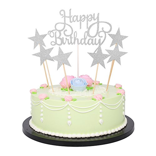 LXZS-BH 7 Pack Glitter Letters Happy Birthday Cake Topper Decorations (Silver) -