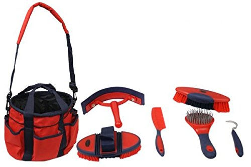 Showman 6 Piece Soft Grip Grooming Kit with Strapped Bag and Pockets on Outside (Red)