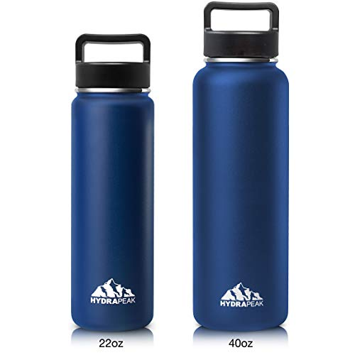 Hydrapeak Stainless Steel Water Bottle- 22oz Vacuum Insulated Wide Mouth, Double Walled, Flask with Handle Lid. (Cobalt, 22oz) (Hydra Thermos)
