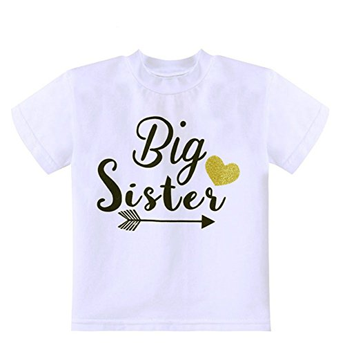 Toddler Girls Big Sister T Shirt Matching Little Brother Baby Bodysuits White (2T, Big sister)
