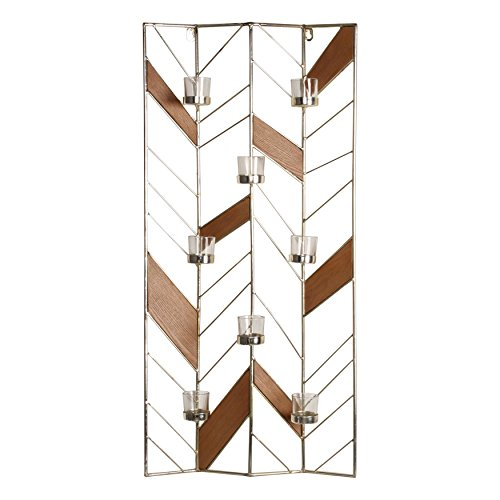 (Kate and Laurel Elettra Metal and Wood Tea Light Candle Holder Wall Sconce,)
