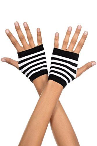 (Music Legs Striped Fingerless Gloves, Black and White Fingerless Black)