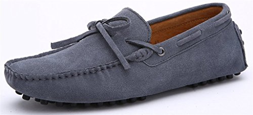 iLory Chaussures Bateau pour homme en suédine Mocassins Pantoufles de Conduite,Men's-dérapant sur corde Nœud Plates Loafers Gris
