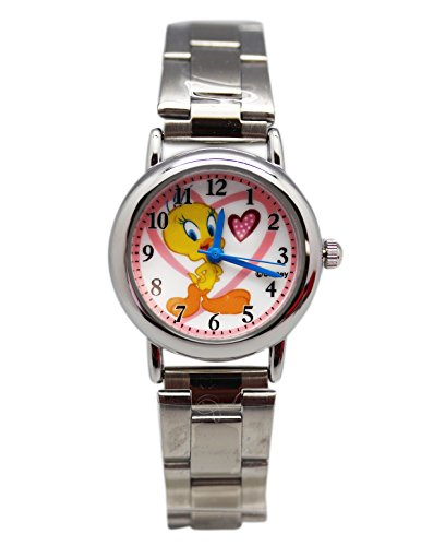 Warner Brothers Silver Tone Tweety Bird Watch -Hearts Spo...