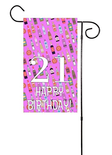 Destiny'S Happy 21st Birthday Liquor Bottle Garden Flag 12.5 x 18 Color Pink -