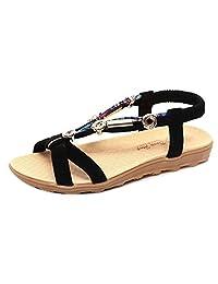Kingfansion Shoes Clearance Women's Flat Sandals, Summer Bohemian Sandals T-Strap Rhinestone Slip on Flip Flops Shoes