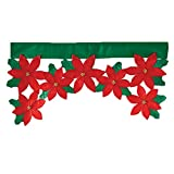 Christmas Flower Leaf Window Door Curtain Valance Christmas Home Decoration Supplies 36.22 x 18.11inch