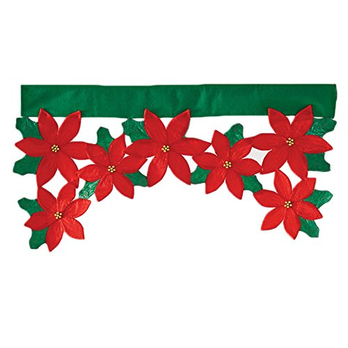 Christmas Flower Leaf Window Door Curtain Valance Christmas Home Decoration Supplies 36.22 x 18.11inch by Gosear