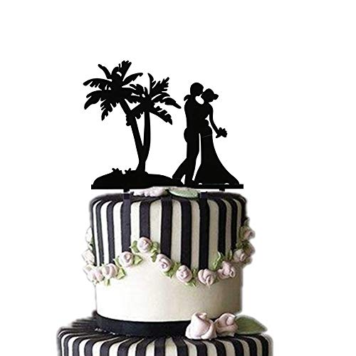 Wedding Cake Topper, Palm Tree with Bride and Groom Couple, Elegent Wedding Cake topper, Black Acrylic Food safe Wedding Engagement Anniversary Party Cake Topper Cake Decoration (Black,Width 5.9 - Cake Wedding Toppers Black