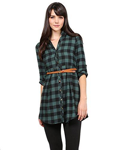Plaid Belted Shirt Dresses - 5