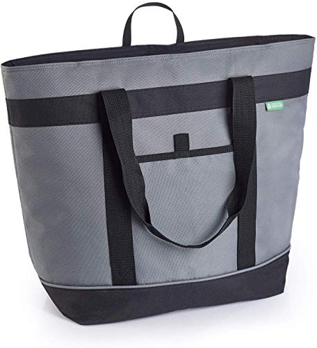 Jumbo Insulated Cooler Bag (Gray) with HD Thermal Foam Insulation. Premium Quality Soft Sided Cooler Makes a Perfect Insulated Grocery Bag, Food Delivery Bag, Travel Cooler, or Picnic Cooler...