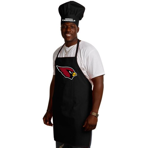 NFL Arizona Cardinals Chef Hat and Apron Set, Black, One Size
