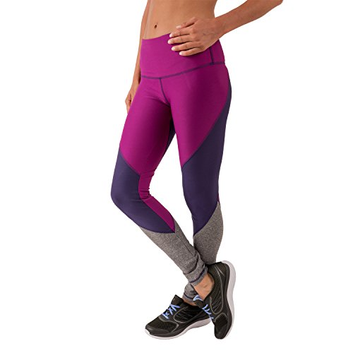 RBX Active Women's Full Length Panel Blocked Lightweight Breathable Yoga Tights, Plum Charcoal Combo, (Mustache Spandex Sheer Pantyhose)