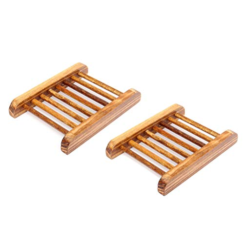 Wood Soap Dish Rack Storage Tray Holder Bathroom Bath Shower Plate Container