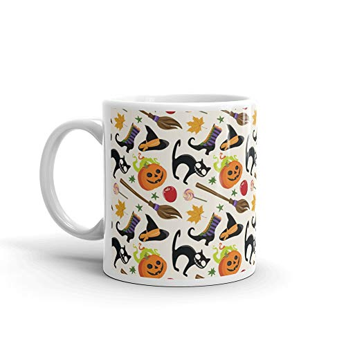 Seamless Pattern With Multicolored Halloween Attributes Coven Water Mug 11Oz Ceramic
