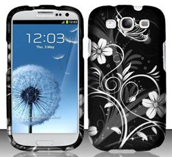 4 Items Combo For Samsung Galaxy S3 i9300 White Flowers Design Snap On Hard Case Protector Cover + Car Charger + Opening Tool + Free Animal Rubber Band Bracelet
