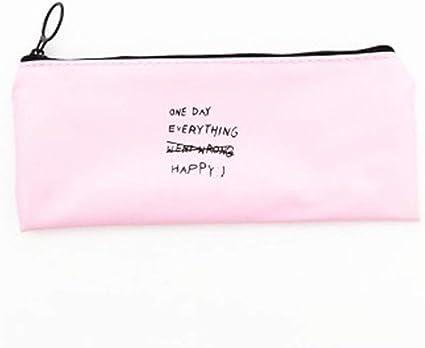 Studyset Simple Trapezoid - Estuche para lápices (poliuretano, con cremallera), color Pink background English: Amazon.es: Oficina y papelería
