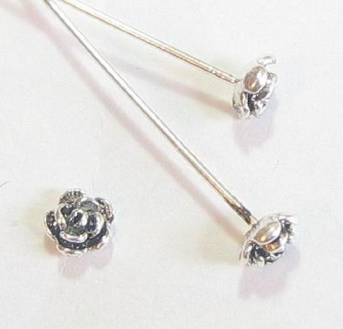 (10 pcs .925 Sterling Silver Head Pins Bali Rose Flower Dot Headpins 22ga 22 Gauge 2''/Findings/Antique)