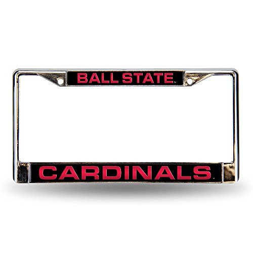 NCAA Ball State Cardinals Laser Cut Inlaid Standard Chrome License Plate Frame