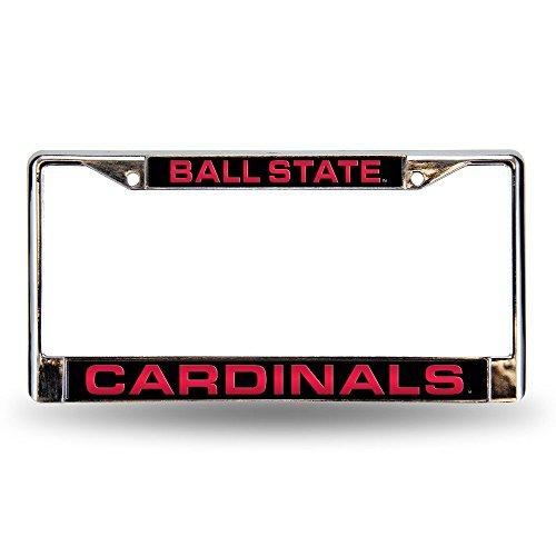 (NCAA Ball State Cardinals Laser Cut Inlaid Standard Chrome License Plate Frame)