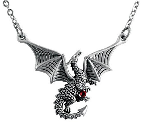 YTC Summit International Braxus Flying Dragon with Red Gem Pewter Pendant Necklace Fantasy Jewelry -