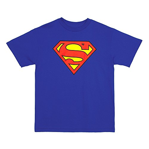 Superman Classic Shield Logo Big Boys T-shirt - Blue (Youth Small (8))