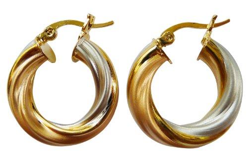 Bijoux De Ja Vintage 3 Tone Gold Pink-Gold Silver Twist Round Hoop Earrings 20 mm.