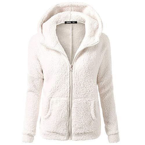 Dressin Women's Hoodie Winter Solid Warm Plus Size Cotton Zipper Coat Tops Blouse Sweatshirt ()