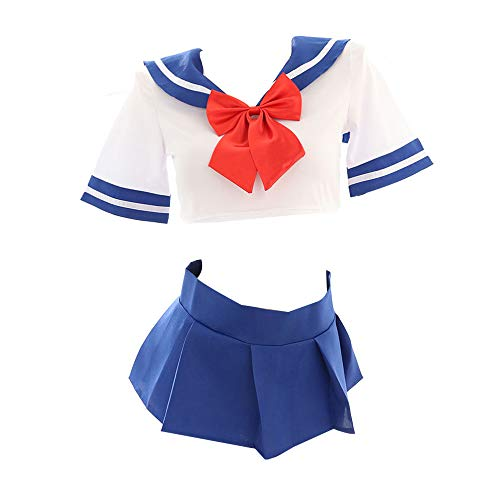YOMORIO Sexy Japanese Schoolgirl Uniform Lolita Cute Anime Sailor Suit with Underboob Shirt Pleated Skirt White (Japanese Outfit Sexy Girl School)