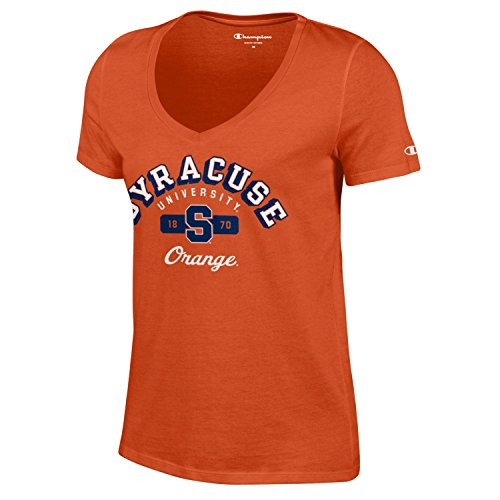 - Champion NCAA Women's University Short Sleeve Tagless V-Neck Tee Syracuse Orange Small