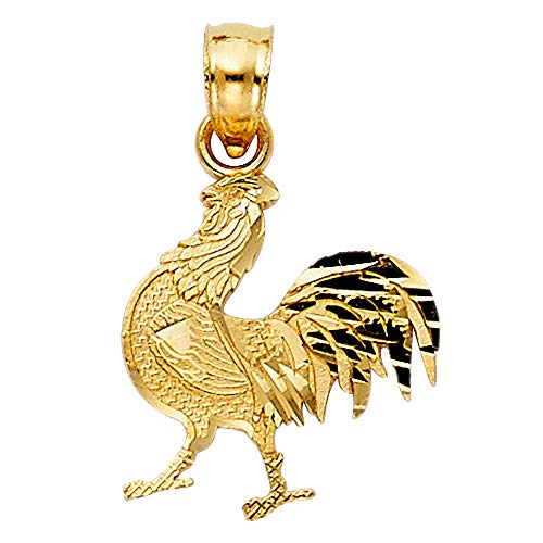 Wellingsale 14K Yellow Gold Polished Diamond Cut Rooster ()