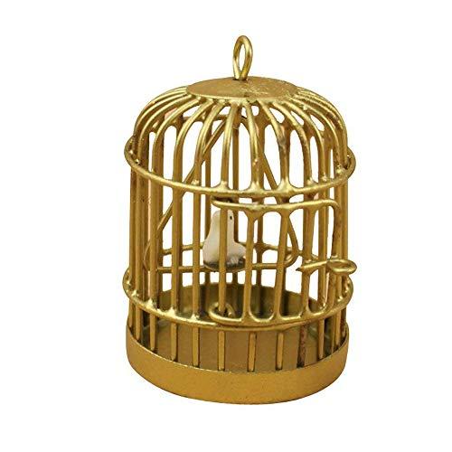 (Xeminor Bird Cage Dollhouse Toy Miniature 1:12 Size Metal Bird Cage Dollhouse Decoration Toy Golden)