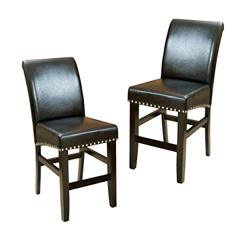 Christopher Knight Home 238540 Lisette Leather Counter Stool (Set of 2) Black by Christopher Knight Home (Image #4)