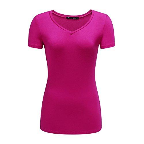 OThread & Co. Women's Short Sleeves T-Shirt V-Neck Plain Basic Spandex Tee (X-Large, Hot Pink)