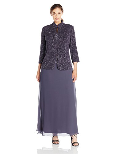 Alex Evenings Women\'s Plus Size Gown and Mandarin Jacket Set, Smoke ...