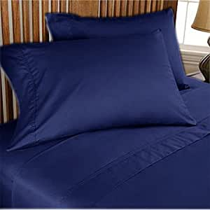 300 TC ULTRA SOFT SILKY 100% EGYPTIAN COTTON 4 PIECE LUXURIOUS SHEET SET TWIN XL NAVY SOLID BY PEARLBEDDING