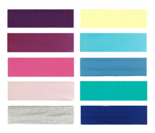 Styla Hair 10 Pack Yoga Headbands - Stretchy Cotton Sports Head Bands, Pastel Colors