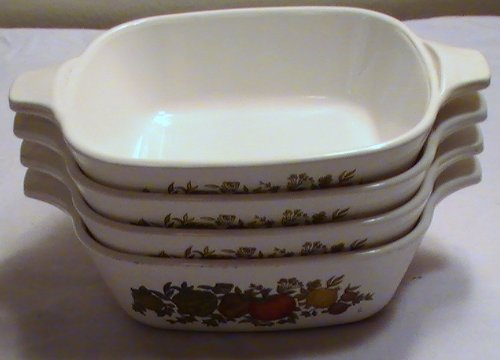 Vintage Corning Ware Spice of Life Individual Casseroles - P-41-B - Set of 4