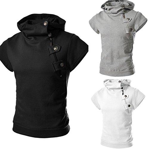T Shirt, Han Shi Men's Fashion Hooded Button Shirt Sports Blouse Tees Tank Vest