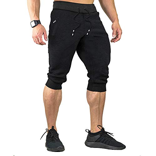Mens Capri Pants New - Menargo 3/4 Casual Shorts Men Elastic Waist Capri Jogger Shorts Below Knee Running Shorts with Three Pockets (Black 5XL)