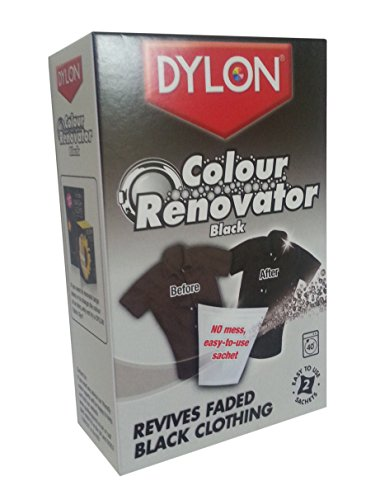 Dylon Black Color Renovator for Restoring your Fabric Colors, Suitable for Black Fabrics, Permanent and Easy to Use, Convenient, Size: 50 grams, Pack of 2