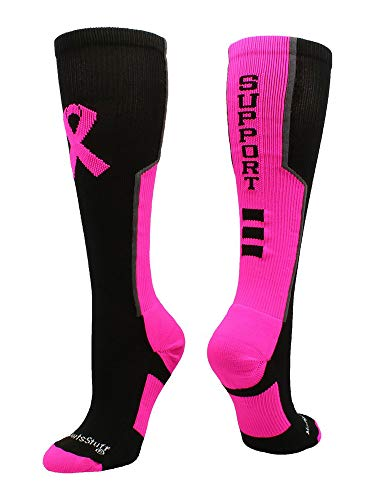 (MadSportsStuff Pink Ribbon Breast Cancer Awareness Support OTC Socks (Black/Neon Pink/Graphite, Large))