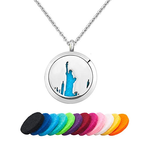 LoEnMe Jewelry Aromatherapy Essential Oil Diffuser Necklace USA Statue of Liberty Locket Pendant for Friend